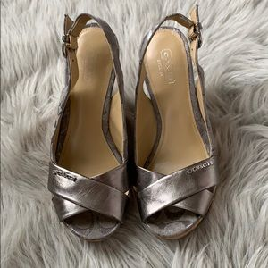 Coach Silver and Grey wedges
